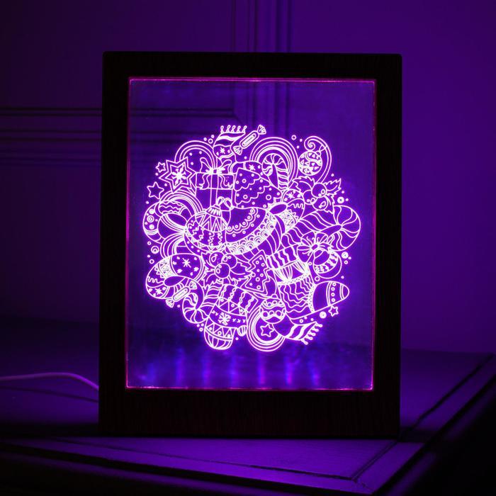 """Рамка светящаяся """"Игрушки"""", 13.5х17 см, USB, 5V , 10 LED, RGB"""