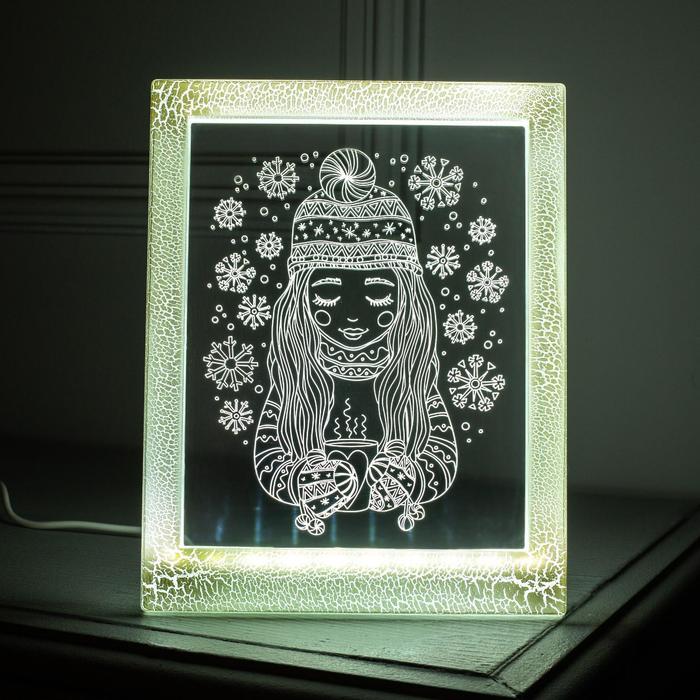 "Рамка светящаяся ""Девочка"", 13.5х17 см, USB, 5V , 10 LED, БЕЛЫЙ"