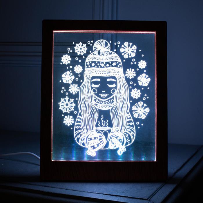 "Рамка светящаяся ""Девочка"", 13.5х17 см, USB, 5V , 10 LED, RGB"