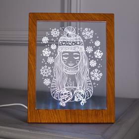 """Рамка светящаяся """"Девочка"""", 13.5х17 см, USB, 5V , 10 LED, RGB - фото 1383850"""