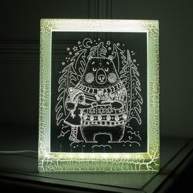 "Рамка светящаяся ""Мишка"", 13.5х17 см, USB, 5V , 10 LED, БЕЛЫЙ"