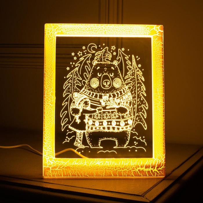 "Рамка светящаяся ""Мишка"", 13.5х17 см, USB, 5V , 10 LED, Т/БЕЛЫЙ"