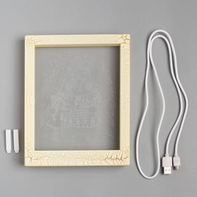 """Рамка светящаяся """"Мишка"""", 13.5х17 см, USB, 5V , 10 LED, Т/БЕЛЫЙ - фото 1383858"""