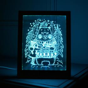 "Рамка светящаяся ""Мишка"", 13.5х17 см, USB, 5V , 10 LED, RGB"