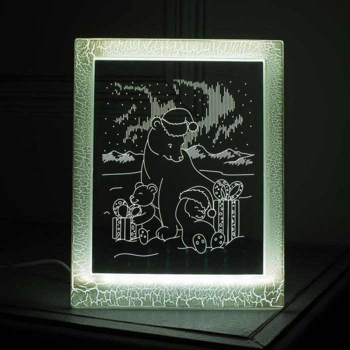 """Рамка светящаяся """"Мишки"""", 13.5х17 см, USB, 5V , 10 LED, БЕЛЫЙ"""