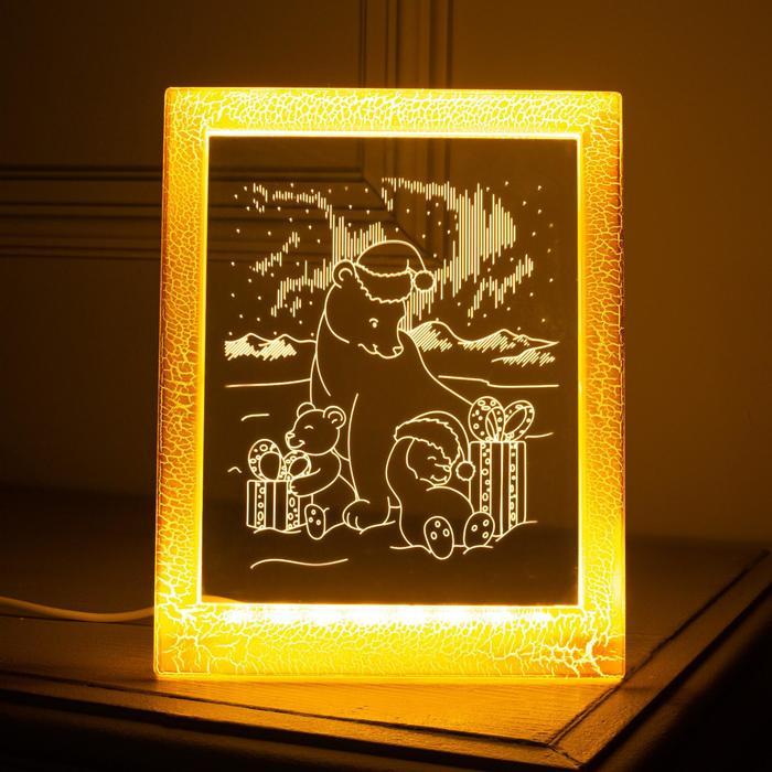"""Рамка светящаяся """"Мишки"""", 13.5х17 см, USB, 5V , 10 LED, Т/БЕЛЫЙ"""