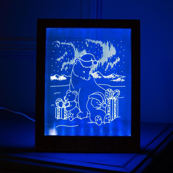 "Рамка светящаяся ""Мишки"", 13.5х17 см, USB, 5V , 10 LED, RGB"