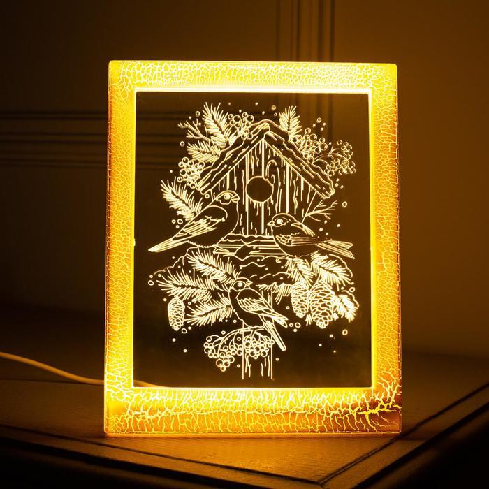 "Рамка светящаяся ""Снегири"", 13.5х17 см, USB, 5V, 10 LED, Т/БЕЛЫЙ"