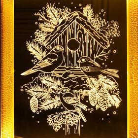 """Рамка светящаяся """"Снегири"""", 13.5х17 см, USB, 5V, 10 LED, Т/БЕЛЫЙ - фото 1383881"""