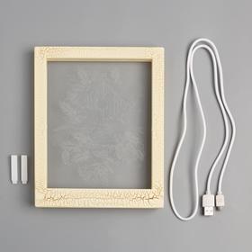 """Рамка светящаяся """"Снегири"""", 13.5х17 см, USB, 5V, 10 LED, Т/БЕЛЫЙ - фото 1383882"""