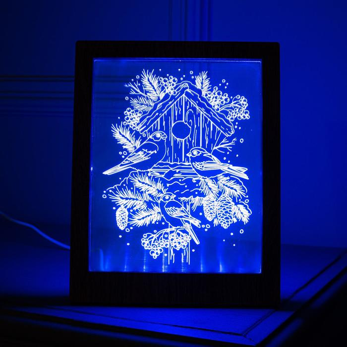 """Рамка светящаяся """"Снегири"""", 13.5х17 см, USB, 5V, 10 LED, RGB"""