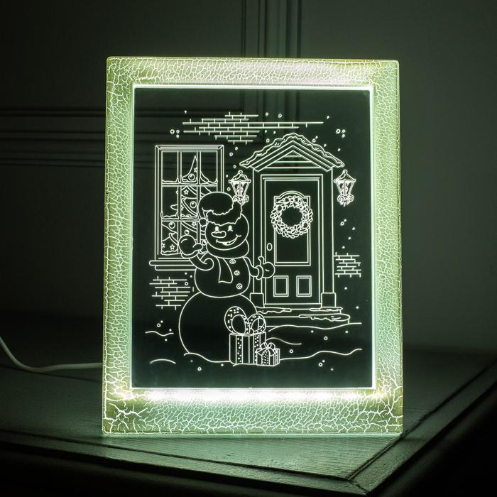 "Рамка светящаяся ""Снеговик"", 13.5х17 см, USB, 5V, 10 LED, БЕЛЫЙ"