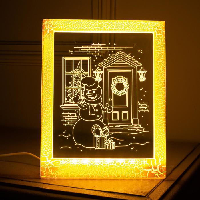 "Рамка светящаяся ""Снеговик"", 13.5х17 см, USB, 5V, 10 LED, Т/БЕЛЫЙ"