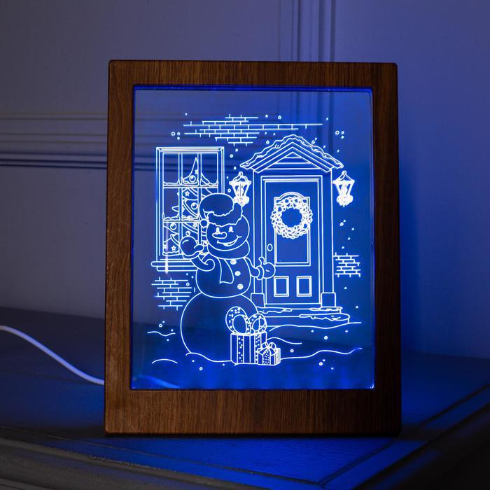 "Рамка светящаяся ""Снеговик"", 13.5х17 см, USB, 5V, 10 LED, RGB"
