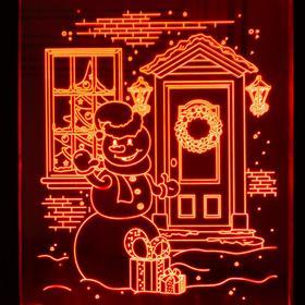 "Рамка светящаяся ""Снеговик"", 13.5х17 см, USB, 5V, 10 LED, RGB - фото 1383897"