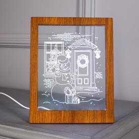 "Рамка светящаяся ""Снеговик"", 13.5х17 см, USB, 5V, 10 LED, RGB - фото 1383898"