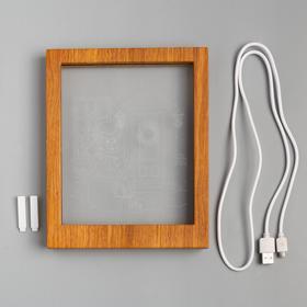 "Рамка светящаяся ""Снеговик"", 13.5х17 см, USB, 5V, 10 LED, RGB - фото 1383899"