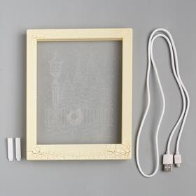 "Рамка светящаяся ""Фонарь"", 13.5х17 см, USB, 5V, 10 LED, Т/БЕЛЫЙ - фото 1383906"