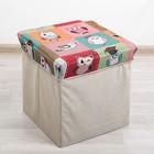Короб для хранения (пуф) складной «Птички», 30×30×30 см