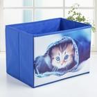 "Короб для хранения 26×26×25 см ""Котёнок"", цвет синий - фото 308331942"