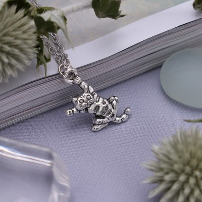 "Pendant ""Cat"" acrobat, color silver, 45 cm"