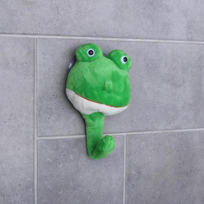 Крючок на вакуумной присоске «Лягушонок», цвет зелёный