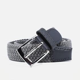 Ремень, резинка плетёнка, пряжка металл, ширина - 3 см, цвет тёмно-серый