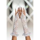 Перчатки кружевные, до локтя, белые, S/L