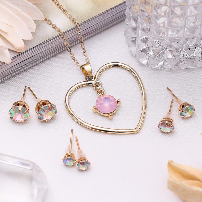 """Гарнитур 4 предмета: серьги (3 пары), кулон """"Сердце"""", цвет розовый в золоте, 45 см"""