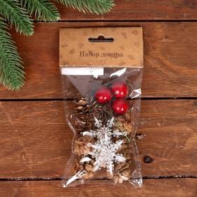 Набор новогоднего декора «Шишки со снежинками»