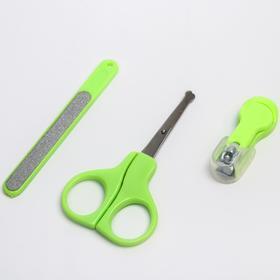 Детский маникюрный набор, 3 предмета: ножницы, пилка, книпсер, от 0 мес., цвет салатовый