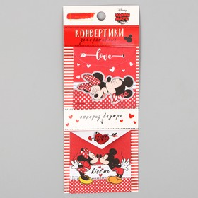 Mini envelopes for scrapbooking, Mickey Mouse with his friends