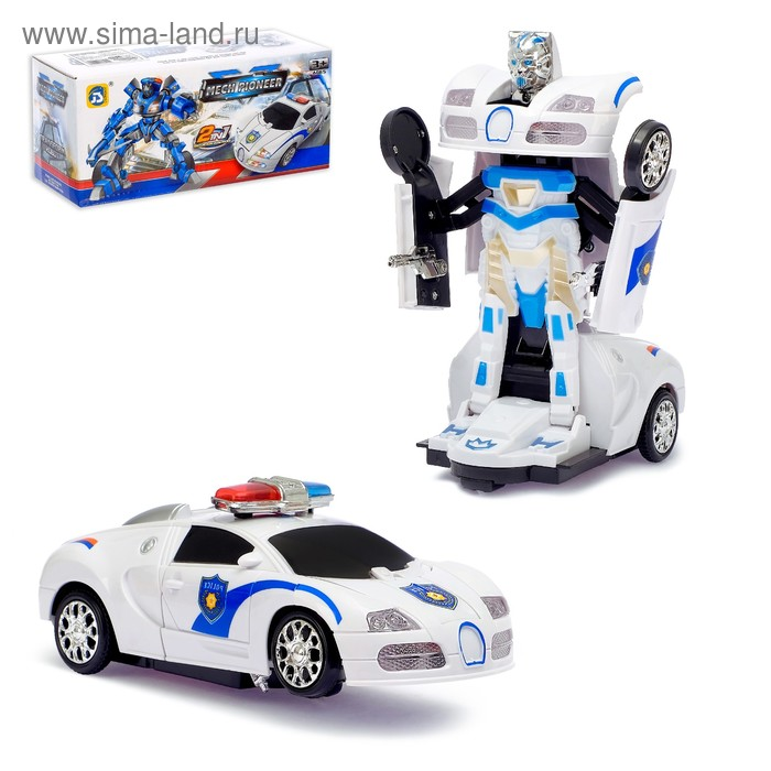 Машина-трансформер «Коп», световые и звуковые эффекты, работает от батареек