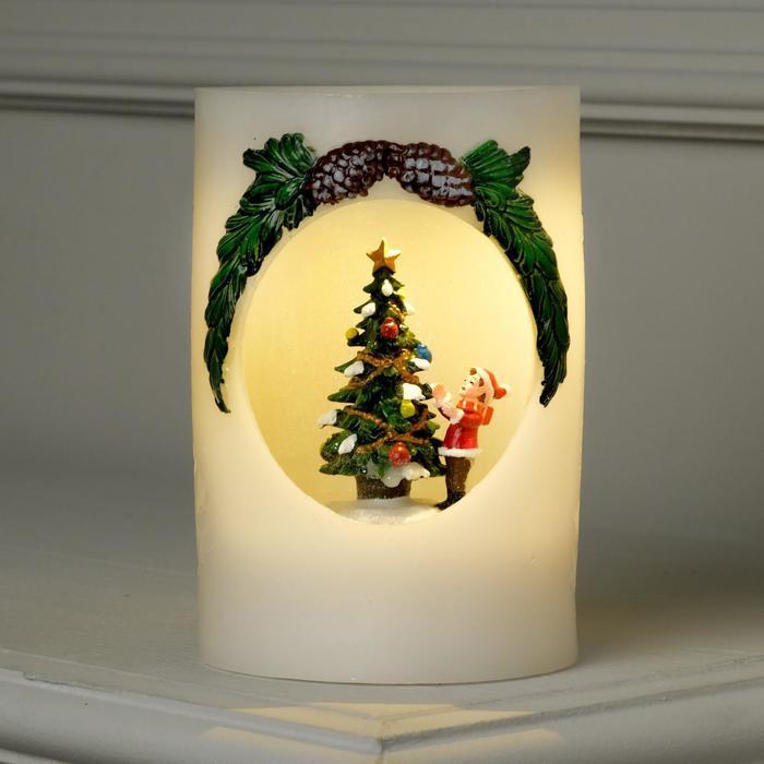 """Фигура световая новогодняя свеча """"Ёлка и мальчик"""", 16х11х11 см, от бат 3*АА(не в компл.)"""