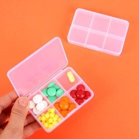Pill box, 6 partitions, color white