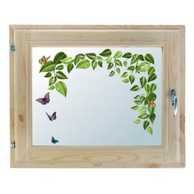 Окно, 40х60см, Декор 10, двойной стеклопакет (хвоя) Добропаровъ Ош