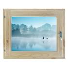 "Окно 40х60 см, ""Туман над рекой"", двойной стеклопакет, хвоя, ""Добропаровъ"""