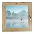 "Окно 50х50 см, ""Туман над рекой"", двойной стеклопакет, хвоя, ""Добропаровъ"""