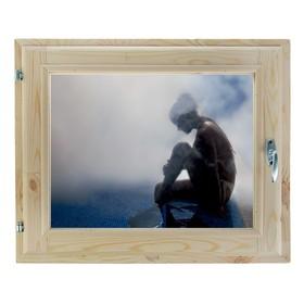 Окно, 40х60см, Декор 14, двойной стеклопакет (хвоя) Добропаровъ Ош