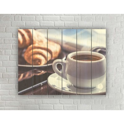 """Картина на дереве в стиле Loft """"Бодрящее кофе"""" 56*42 см"""
