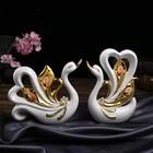 """Сувенир керамика """"Два белых лебедя с золотыми перьями и ракушками"""" набор 2 шт 23х16,5х6,5см"""