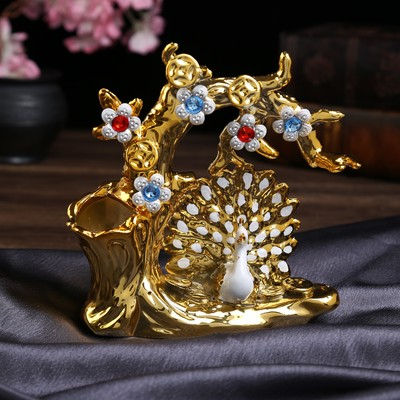 "Сувенир керамика вазон ""Белый павлин с золотым оперением у дерева"" 19х18х6,2 см"