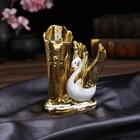 """Сувенир керамика вазон """"Лебедь белая с золотыми крыльями"""" 17,2х14х7,2 см"""