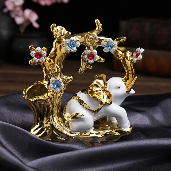 "Сувенир керамика вазон ""Белый слон у дерева"" 18,5х17,5х6 см"