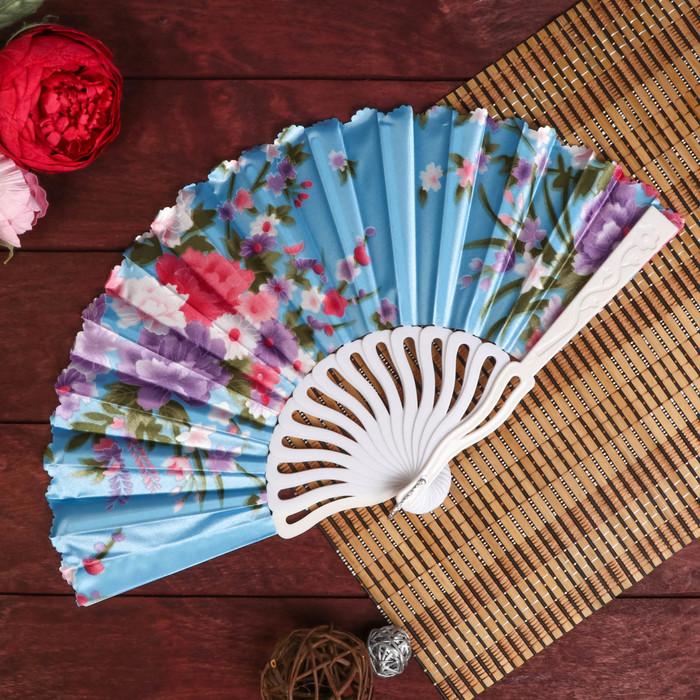 """Веер пластик, текстиль изгиб """"Крупные цветы на атласе"""" МИКС 23 см"""