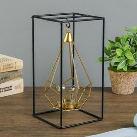 "Подсвечник металл на 1 свечу ""Пирамида в прямоугольнике"" 26х13х13 см"