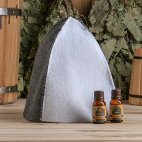 """Набор для бани в коробке """"Классика"""" шапка серая, масло апельсина и пихты"""