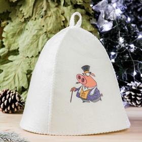 Банная шапка с термопечатью 'Свинки с тростью', войлок, белая Ош