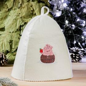 Банная шапка с термопечатью 'Свинка в бочке', войлок, белая Ош