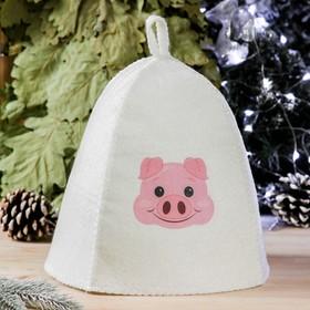 Банная шапка с термопечатью 'Свинка', войлок, белая Ош